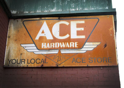 An old-school ACE hardware is conveniently located right around the corner.