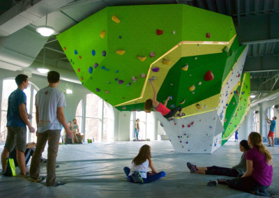 Popular bouldering gym First Ascent is right across the street offering climbing, yoga and other fitness experiences.